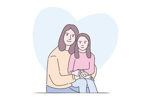 Hand drawn illustration sweet pose mother and daughter vector