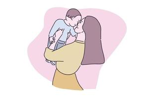 Hand drawn illustration mother playing with her baby vector
