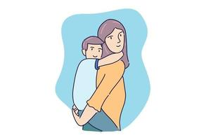 Hand drawn illustration mother carry her daughter vector