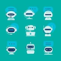 Artificial Intelligence Chatbot Icons Set vector
