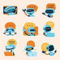 Artificial Intelligence Chatbot Stickers Collection vector