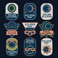Beautiful Set of Solar Eclipse Badge vector