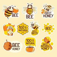 Save The Bees Stickers Set vector