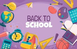 Top View School Supplies on Violet Background vector