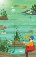 Man Sitting and Fishing on Summer Lake vector