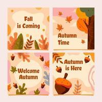 Fall Autumn Card Collection vector