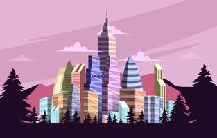 Futuristic Pastel Geometric Skyscraper vector