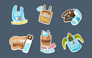 salvar el medio ambiente sin pegatinas de plástico vector