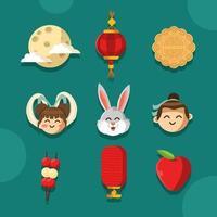 Celebrating Wonderful Mid Autumn Festival Icon vector