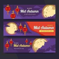 Peaceful Moonlight Mid Autumn Festival Banner vector