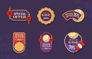 Mid Autumn Wonderful Special Offer Badges vector