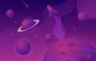 Space Background with Rocket vector