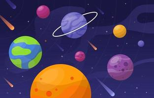 Space Background with Colorful Planet vector