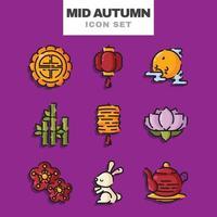 Mid Autumn Icon Set vector