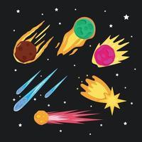 colección de asteroides de meteoritos vector