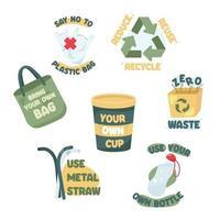 No Plastic Campaign Icons vector