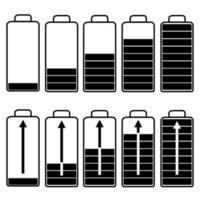 Set of black flat batteries vector