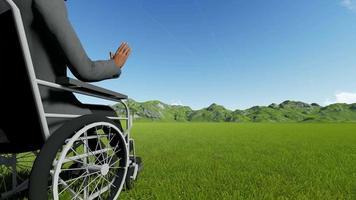 personne handicapée sur une chaise sur fond de montagnes video
