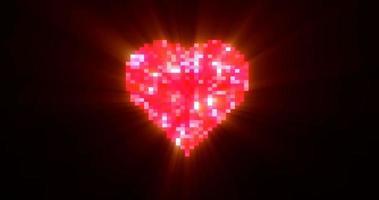 coeur de pixel sur boucle parfaite d'écran de télévision numérique video