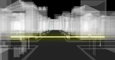 Fiber optic cables carrying information toward glowing wireframe town buildings video