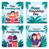 conjunto de tarjetas del día internacional de la amistad vector