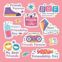 Happy Friendship Day Sticker Set vector