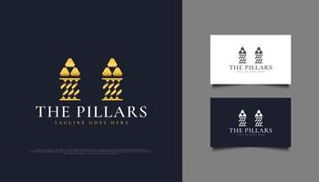 Golden Pillars Logo or Symbol, Suitable for Law Firm, Investment, or Real Estate Logos vector