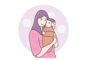 Hand drawn illustration cute baby and mom vector