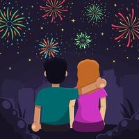 Couple Watching Fireworks Show vector