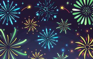 Flat Firework Background vector