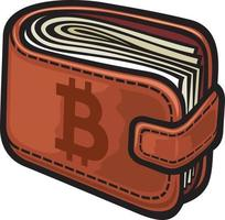 Bitcoin Sign On The Leather Wallet vector