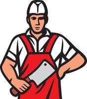 Butcher With Red Apron vector