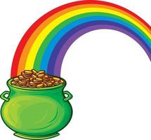 Golden Pot With Rainbow vector