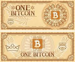 One Bitcoin Abstract Banknote vector