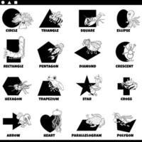 black ans white basic geometric shapes with animals set vector