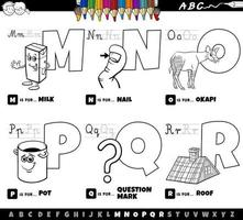 cartoon alphabet letters set from M to R coloring book page vector