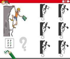 educational shadows game with cartoon climber character vector