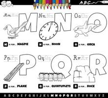 educational cartoon alphabet letters set from M to R color book page vector