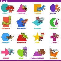 basic geometric shapes with comic animals characters set vector