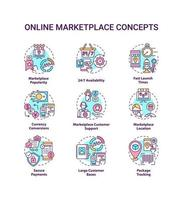 Online marketplace concept icons set. 24 7 availability idea thin line color illustrations. Customer support. Secure payment. Large customer bases. Vector isolated outline drawings. Editable stroke