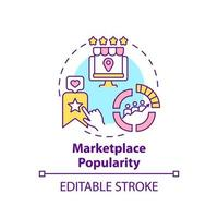 Marketplace popularity concept icon. Reaching large audience abstract idea thin line illustration. Increasing global online sales. Vector isolated outline color drawing. Editable stroke