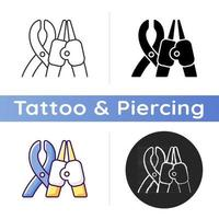 Piercing tools icon. Professional tool for punching small holes in human skin. Injecting iron parts. Modern style. Linear black and RGB color styles. Isolated vector illustrations
