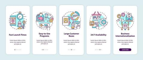 Online marketplace benefits onboarding mobile app page screen. Large customer bases walkthrough 5 steps graphic instructions with concepts. UI, UX, GUI vector template with linear color illustrations