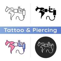 Tattoo machine icon. Special device for creating tattoos. Professional equipment. Tool for injecting ink. Body modifications. Linear black and RGB color styles. Isolated vector illustrations