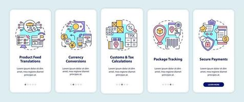 International marketplaces services onboarding mobile app page screen. Package track walkthrough 5 steps graphic instructions with concepts. UI, UX, GUI vector template with linear color illustrations