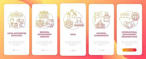 Population growth programs onboarding mobile app page screen with concepts. National governments walkthrough 5 steps graphic instructions. UI, UX, GUI vector template with linear color illustrations
