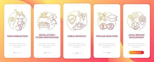 Population change strategies onboarding mobile app page screen with concepts. Public advocacy walkthrough 5 steps graphic instructions. UI, UX, GUI vector template with linear color illustrations