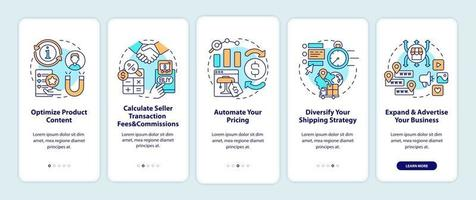 Online marketplace success tips onboarding mobile app page screen. Optimize content walkthrough 5 steps graphic instructions with concepts. UI, UX, GUI vector template with linear color illustrations