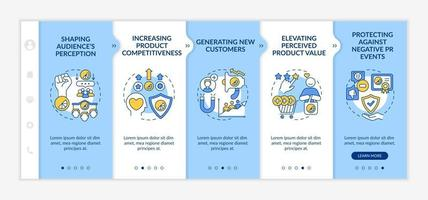 Strong brand identity advantages onboarding vector template. Responsive mobile website with icons. Web page walkthrough 5 step screens. Elevating product value color concept with linear illustrations
