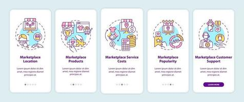 Marketplace choice parameters onboarding mobile app page screen. Location, products walkthrough 5 steps graphic instructions with concepts. UI, UX, GUI vector template with linear color illustrations